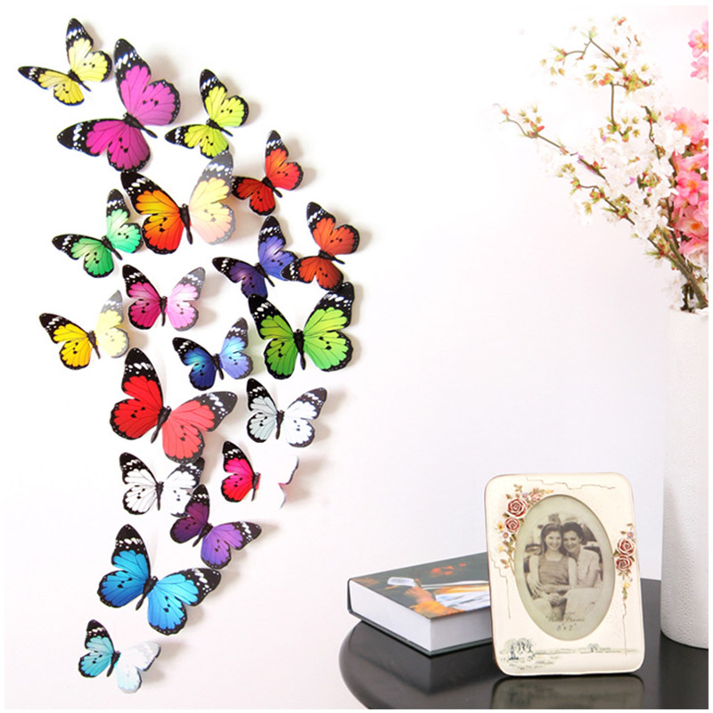 24pcs DIY 3D Butterfly Dragonfly Wall Stickers Kids Room Decorative Wall Stickers Fridge Paste Stickers Art Home Decoration