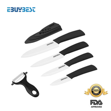 Ceramic knife set 3″ 4″ 5″ 6″ inch + Peeler + Covers White blade ABS Handle kitchen knivesParing knife 6 color choose