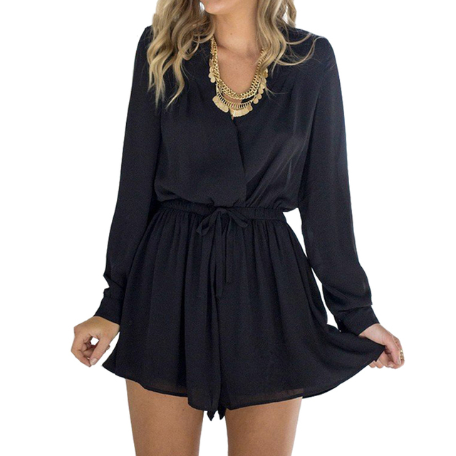 IYAEGE Long Sleeve Rompers Women Short Jumpsuit Sexy Deep V Neck Hollow Out  Playsuit Beach Summer ca114f92ff