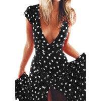 Women Summer Lond Dress Summer Sexy V Neck Short Sleeve Maxi Dresses Retro Dot Printed Beach