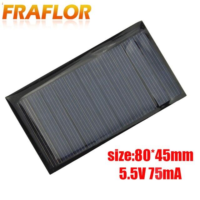 Fraflor Panel Solar portátil para cargador de batería, 10 Uds., 0,42 W, 5,5 V, 80x45x3mm, envío gratis, fuente de alimentación de emergencia de células solares