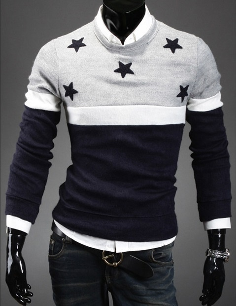 Zogaa Brand New Mens Sweater Round Design Stars Embroidered Fashion Sweaters Casual Slim Men Clothing 2018 New Sweater For Men