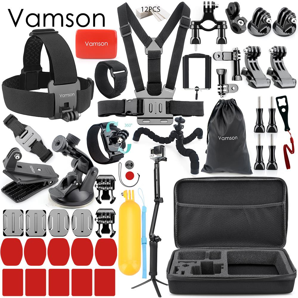 Vamson Accessories for Xiaomi for Yi 4K for Gopro Hero 7 6 5 4 Set Kit Adapter Mount Storage Bag Tripod for Eken Camera VS161 vamson for gopro accessories chest strap belt body tripod harness mount for gopro hero 5 4 3 for xiaomi for yi 4k camera vp203