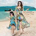 Mirada de la familia de Madre E Hija de Ropa A Juego Vestidos de Madre E Hija de Ropa Madre E Hija Vestido Bohemio de la Playa 2016 Nuevo
