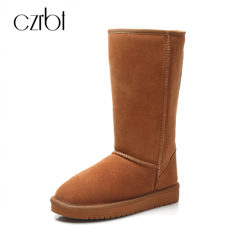 CZRBT Classic Retro Mid Calf Snow Boots Winter High Quality Women's Boots Woman Real Cow Leather Australia Warm Wool Boot Shoes double buckle cross straps mid calf boots