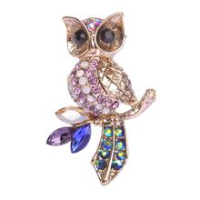 Vintage Silver Owl Brooches For Men Women Flowers Hat Accessories Animal Bird Wedding Hijab Scarf Pin