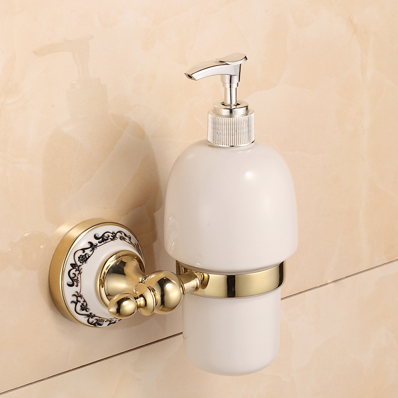 цена на Wall Mounted Golden Brass & Ceramic Soap Dispenser Bathroom Liquid Hand - washing Bottle