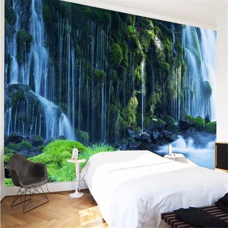Beibehang Photo 3d Wallpapers Flying Down Water Fall Rock