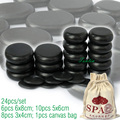 New! TONTIN 24pcs/set Hot massage energy body stone set Salon SPA with bag CE and ROHS 10pcs (5x6)+6pcs(6x8)+8