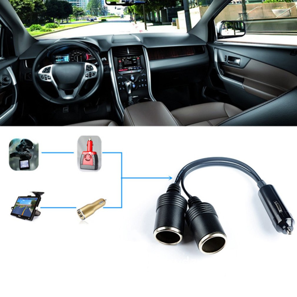 Двойной Порты и разъёмы автомобильного прикуривателя 12 V-24 V Мощность Зарядное устройство адаптер-разветвитель на муфтовый стыковочный переводник бакелитовая заглушка разъем адаптера