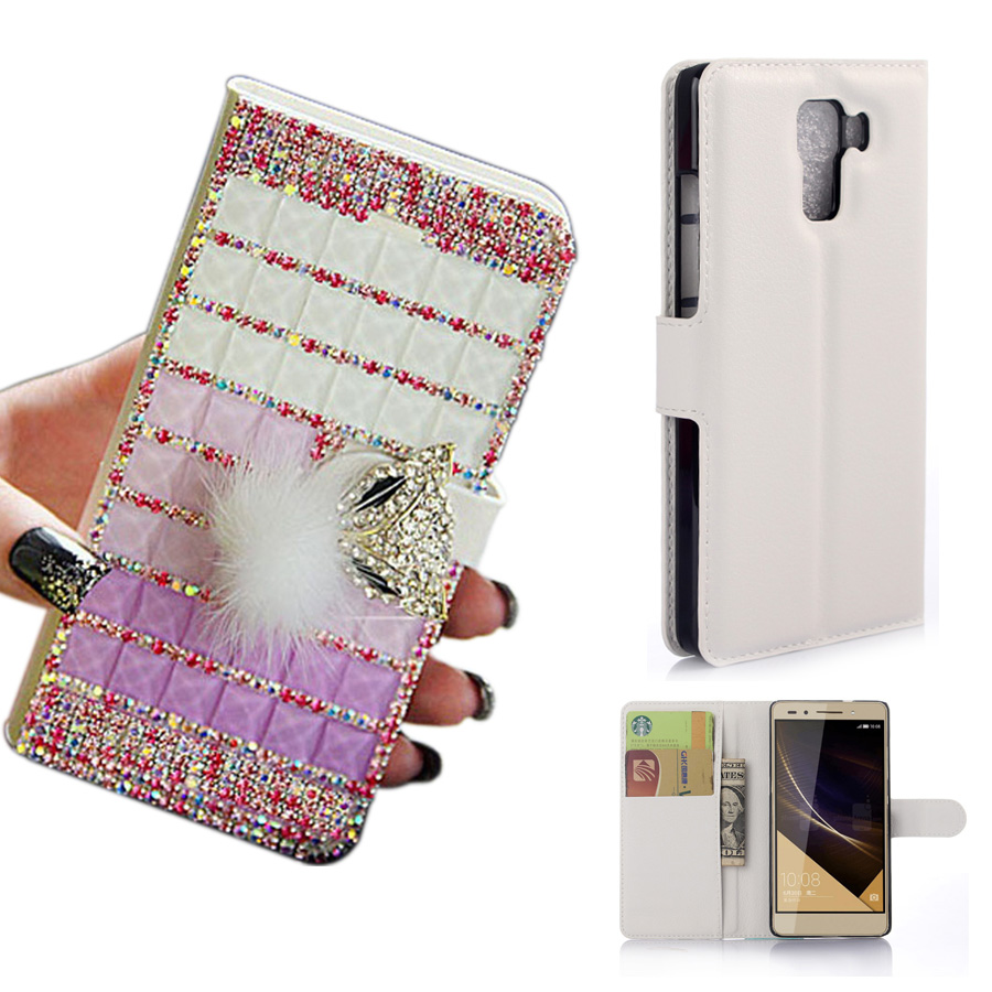 3D DIY Handmade Full Box Bling Crystal PU Leather Stand Flip Stand Wallet Phone Case Cover For Huawei Honor 6/7/8 with card slot