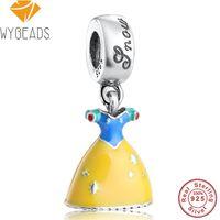 WYBEADS 925 Sterling Silver Esmalte Amarelo Vestido de Branca de Neve Pingente Encantos Europeia Bead Fit Pulseira DIY Acessórios Jóias