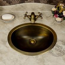 Lavabo clásico de bronce, lavabo, lavabo vintage de cobre para Baño