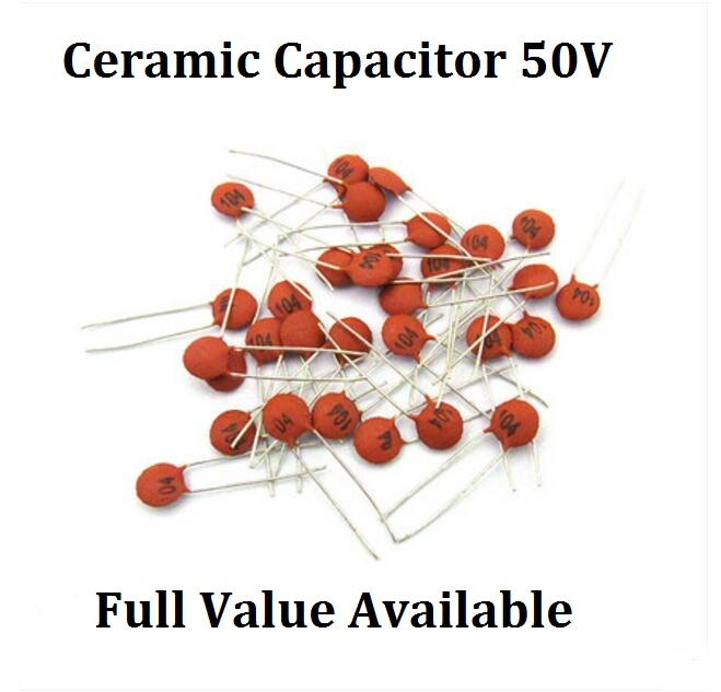 100PCS 50V 50/56/68/75/82/100/120/150/200/P/PF Ceramic Capacitor  560/820/101/680/750/121/151/201/P Capacitance 50PF 56PF 82PF
