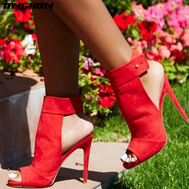 TINGHON Button Ankle Strap Sandal Open Toe Women Stripper Ultra High Heel Pumps Red Wedding Shoes