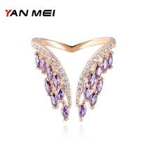 YANMEI Open Adjust Size Rings for women AAA Cubic Zirconia Fashion Jewelry Female YMJ1806