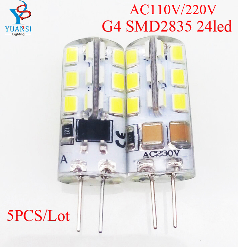 Led Bulbs & Tubes 5pcs G4 Base 2835smd 24leds Bulb,white/warm White Led Lamp Ac110/220v Aromatic Character And Agreeable Taste