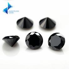 1000 шт aaaaa + 08 ~ 4 мм cz камень круглая огранка черный цвет