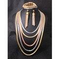 Jiayi Multi-camada Colar Banhado A Ouro Magnética Fechos Partido Conjuntos de Jóias de Casamento Nigeriano Beads Africanos conjunto de Jóias Indiano
