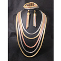 Jiayi de Múltiples capas Collar de Oro Plateado Corchetes Magnéticos Indio Boda Nigeriano Perlas Africanas Sistemas de La Joyería Del Partido Sistemas de La Joyería