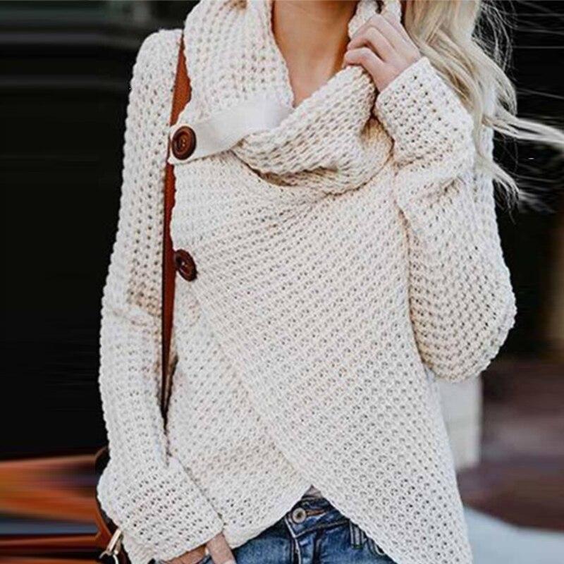 bb2b0f1483e 2018 Women s Fashion Knit Sweater Buttons Loose Cardigan Ladies Winter Warm  High Collar Irregular Sweaters Coat