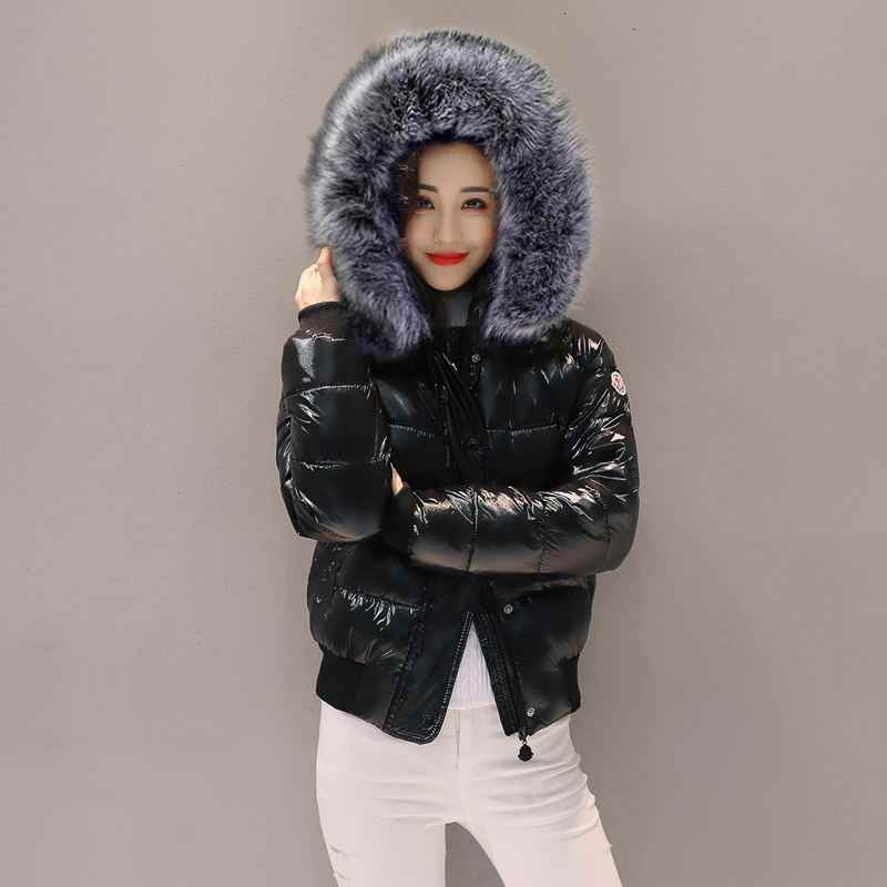 Winter Jacket Women Fashion Metal Black Bright Hooded Warm Jacket Short Coat Cotton Padded Parka Women Jackets Bomber Streetwear