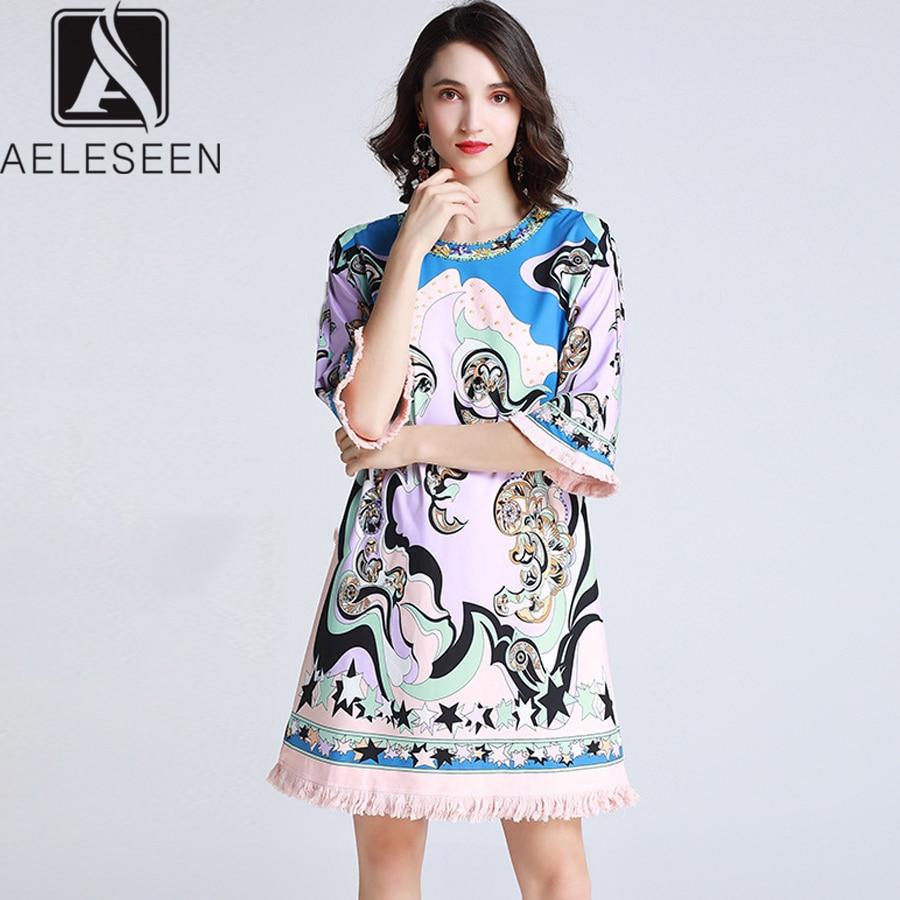AELESEEN Runway Summer Dresses 2019 Fashion Flare Half Sleeve Straight Flower Beading Diamonds Women Printed Tassel