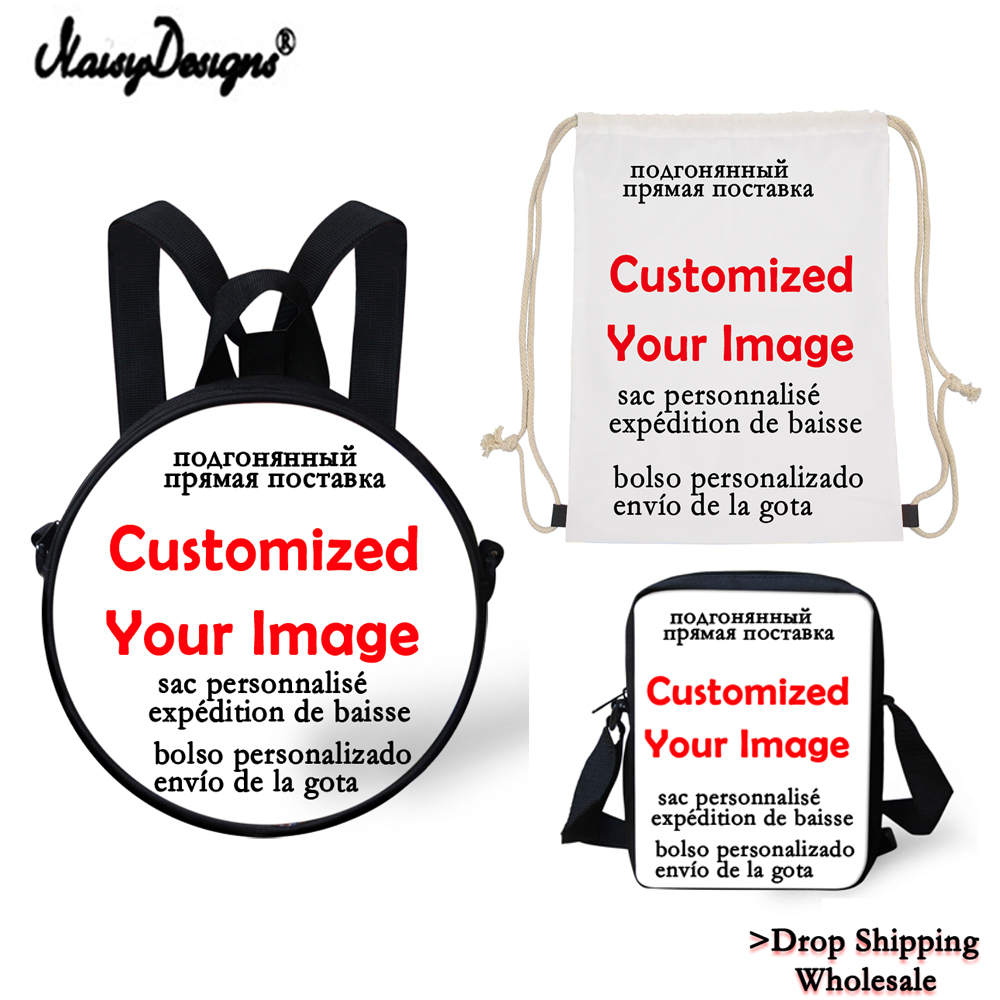 10pcs Custom your image College Teen Girls Boys Backpacks Girls School Mochila Daily with Round bags Messenger Dropshipping