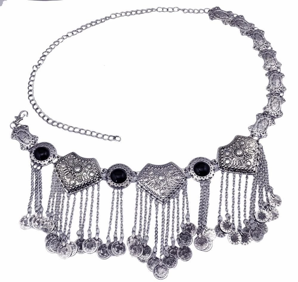 Image 2 - Цыганское серебряное металлическое платье с цветком в стиле бохо, турецкое богемное платье с ремнем для танца живота, поясная цепь с монетками, сексуальное индийское украшение для телаУкрашения для тела   -