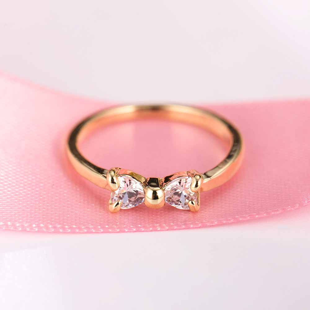 IPARAM Austria Crystal rings Gold Color finger Bow ring wedding ...