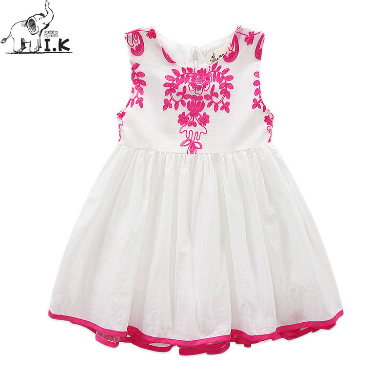 I.K Girls Dresses Summer 2017 Children Clothes Girls White Red  Embroidery Flower Vestidos For Party And Wedding Brand New B1003  high quality vestidos children clothing new girls red wedding dress summer party dresses for kids costume flower chiffon clothes