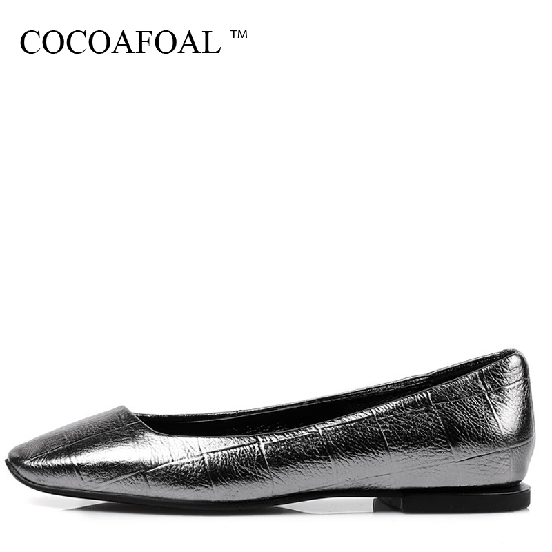 COCOAFOAL Woman Silvery Platform Shoes Fashion Square Toe Flats Spring Autumn Shallow Genuine Leather Platform Ballet Shoes 2017 square toe ballet flats shiny patent leather black red spring autumn checker butterfly knot shoes woman