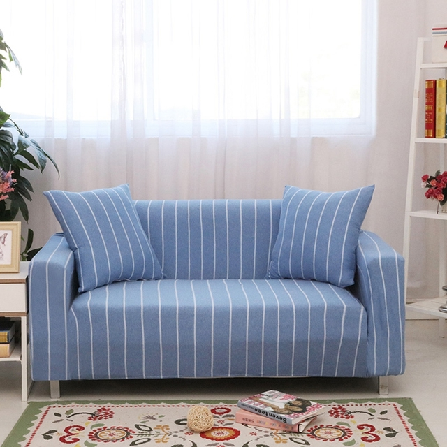 Universal couch sofa coverscheap light blue stripes slipcovers for