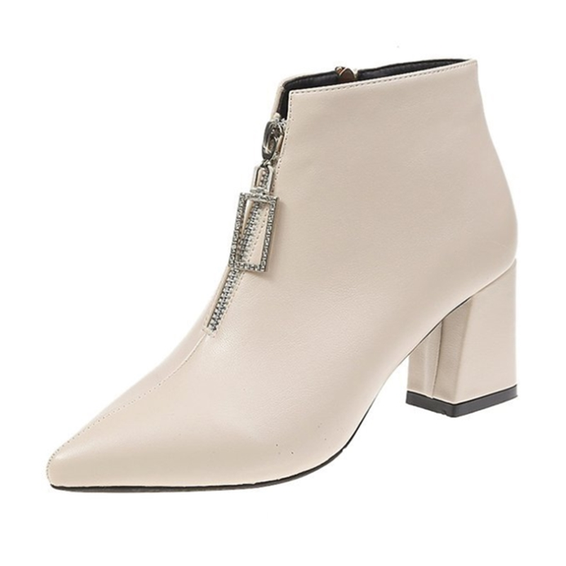 Alçada Ho Mulheres Botas Moda Pure Colour Pontas Do Dedo Do Pé Das Mulheres Botas de Inverno Confortáveis Sapatos de Salto Quadrado Mulheres Não-slip martin Bota