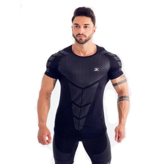 Camisetas de manga corta para hombre de compresión de secado rápido de BULKING Camiseta deportiva ajustada de tenis camiseta de fútbol gimnasio Demix ropa deportiva