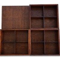 Caja de Almuerzo de Tres Capas de Madera Maciza Caja de Sushi japonés Vajilla Hogar Conjunto Recipiente de Comida Bento Caja de Pintura Natural 3 Tamaños