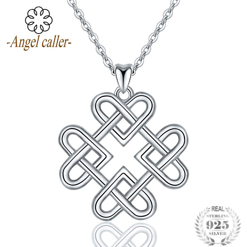 Sterling Silver 925 Necklace Women Irish Celtics Love Knot Pendant Good Lucky Heart Choker Fine Jewelry Gift CYD124