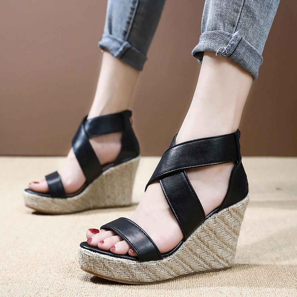Sandals Wedges Platform Beach-Shoes Open-Toe High-Heels Womens Thick-Bottom Roman Lace-Up