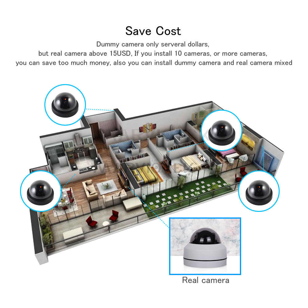 屋内偽 IP カメラ wifi ドームホームセキュリティビデオ監視ダミーカメラ cctv videcam ミニカメラ HD 点滅 Led ライト