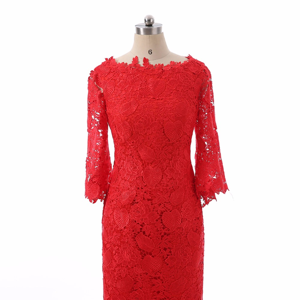 Charming Red Simple Straight Lace Boat Neck Short Evening Dresses ...