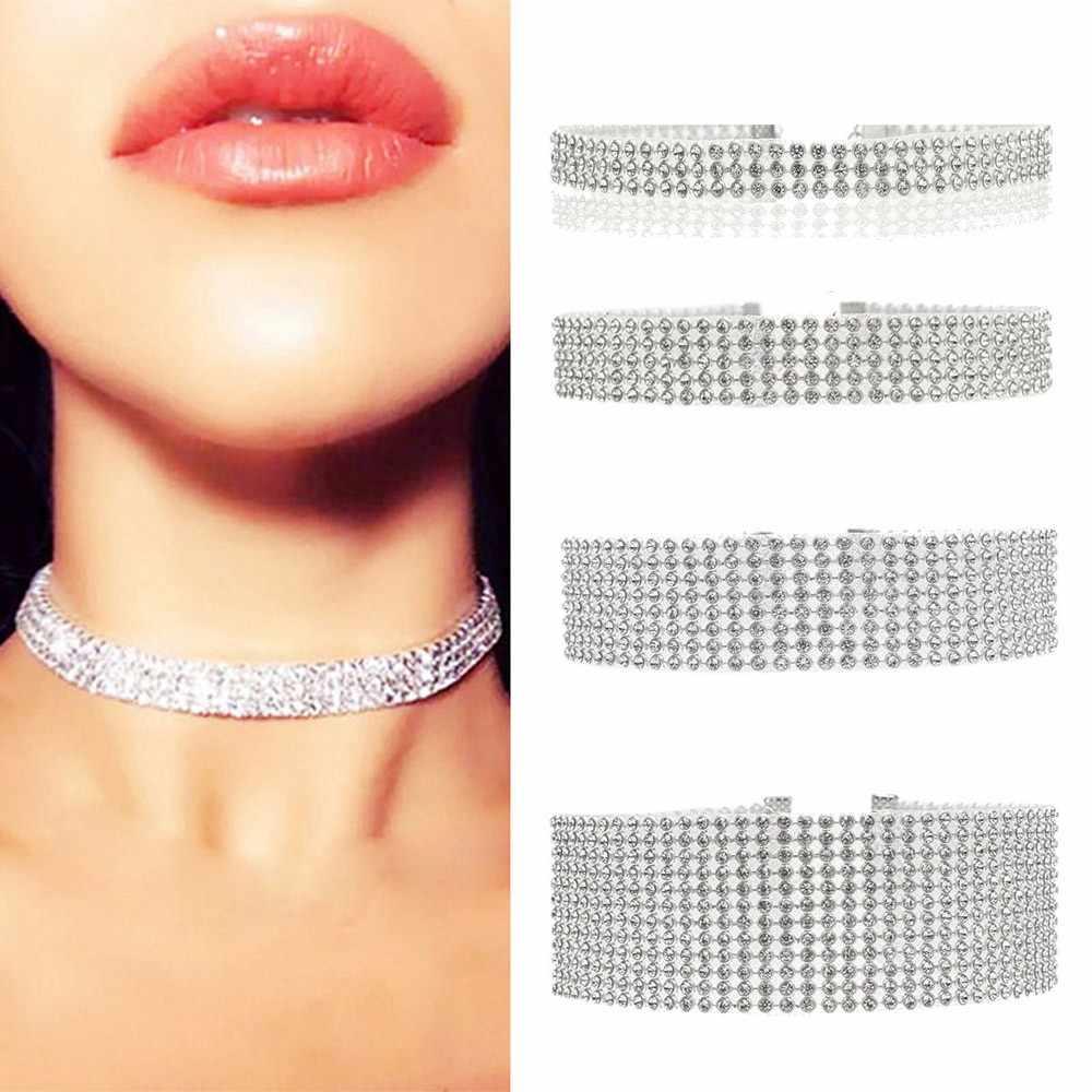 Nowy kobiety moda pełna Rhinediamond choker z kryształem strasem naszyjnik ślub europejski w stylu Vintage akcesoria biżuteria Dropship