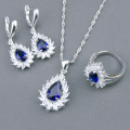 New Blue Created Sapphire White Topaz 925 Sterling Silver Jewelry Sets For Women Necklace Pendant Earrings Rings Free Gift Box