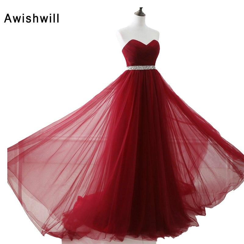 Billiga Kvinnor Långa Aftonklänningar Röd 2019 Robe de Soiree Longue Sweetheart Pärlor Tulle Aftonklänningar Formell Prom Party Dress