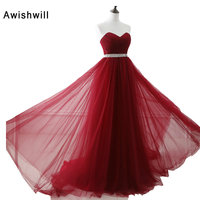 Cheap Women Long Evening Dresses Red 2017 Robe De Soiree Longue Sweetheart Beadings Tulle Evening Gowns