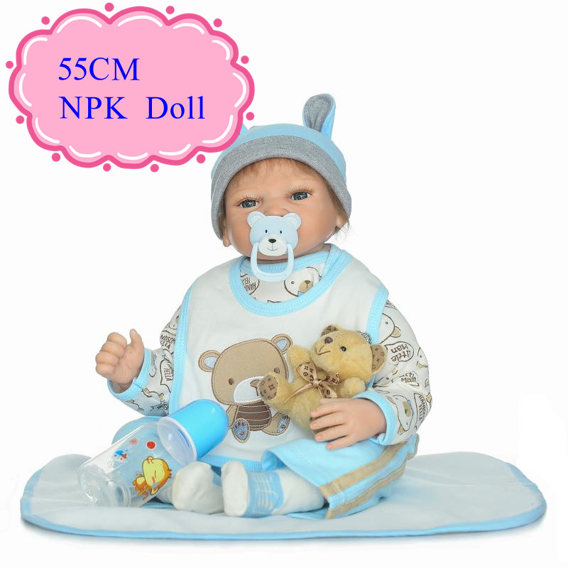 New Lover 55cm Silicone Bonecas Bebe With Blue Two-Piece Suit 22inch Baby Doll Look Real For Kids As Bed Time Play Toys Kids Toy