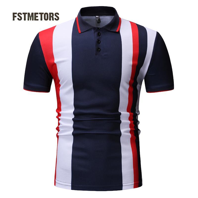 2018 Men's Polo Shirt Fashion Casual Color Print Slim Personality Short Sleeve Sports POLO Shirt