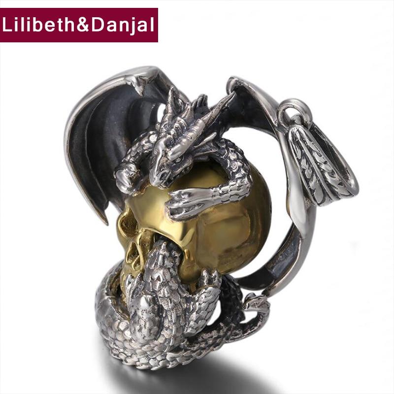 2019 pendentif Dragon 100% 925 bijoux en argent Sterling hommes femmes Punk Rock crâne collier pendentif Pterosaur fabrication de bijoux P100