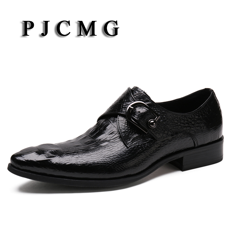 PJCMG Fashion Spring/Autumn Luxury Crocodile pattern Genuine Leather Buckle Pointed Toe Dress Business Oxfords Shoes For Men pjcmg brand italian style spring autumn luxury men s black red genuine leather pointed toe dress business oxfords shoes for men