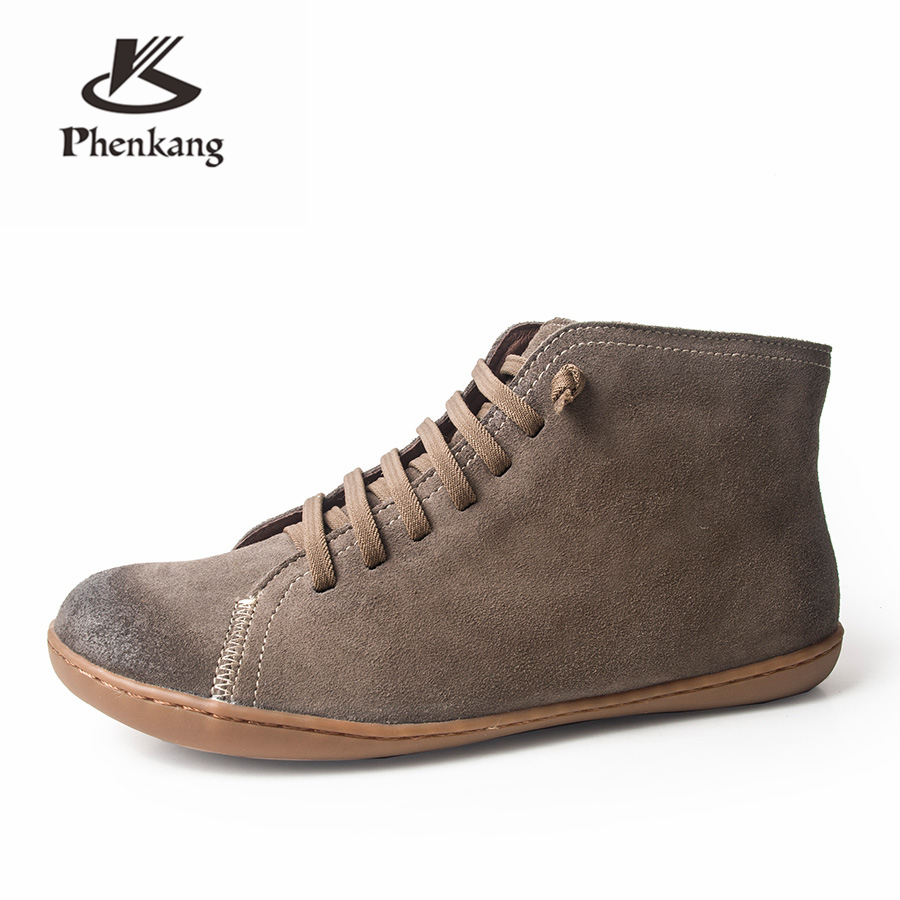 Men winter Boots Genuine leather cow suede casual ankle boots Comfortable quality soft handmade flat Shoes black brown with fur in Basic Boots from Shoes