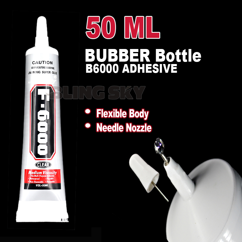 50ml F6000 Needle Nozzle Rubber Bottle Adhesive Glue ,clear gel multi purpose work for DIY nail jewelry crystals rhinestones